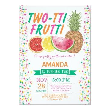 tutti frutti birthday party invitations 2nd bday
