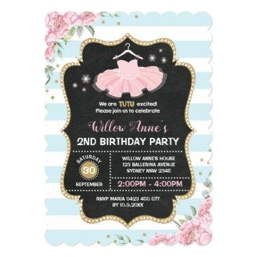 tutu ballerina blue pink gold birthday invite
