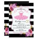 tutu ballerina floral sparkle second birthday invitations