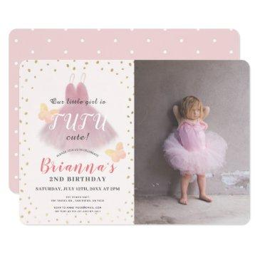tutu cute ballerina pink & gold photo 2nd birthday invitation