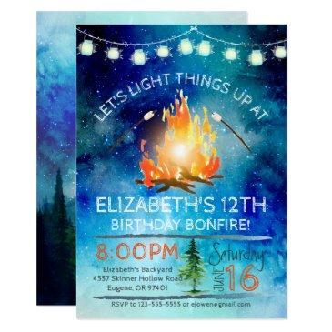 tween bonfire birthday party invitation
