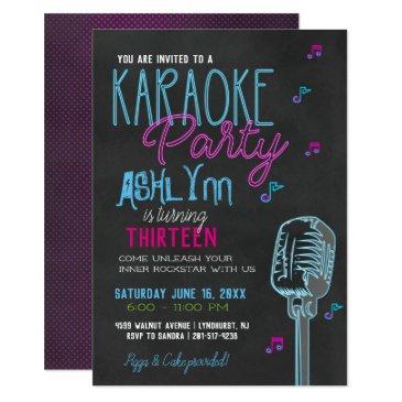 tween/teen karaoke birthday party invitations