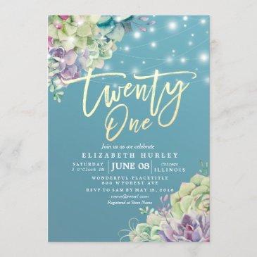twenty one 21 birthday party watercolor succulent invitation