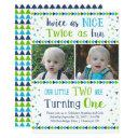 twice as nice twin boy first birthday invitation