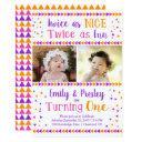 twice as nice twin girls first birthday invitation