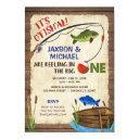 twin boys rustic fishing 1st birthday boy invitation