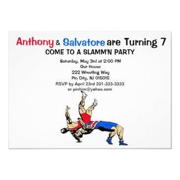 twin boys wrestling birthday invitations
