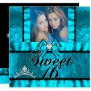 twin girls blue teal sweet sixteen sweet 16 invitation