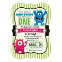 twin monsters birthday party invitations