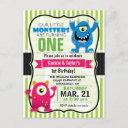 twin monsters birthday party postinvitations invitation