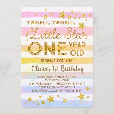 twinkle little star 1st birthday invitation