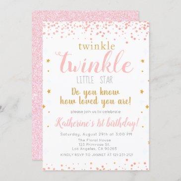twinkle little star pink & gold girls 1st birthday invitation
