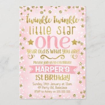 twinkle twinkle star 1st birthday invitation