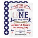 twins, 1st birthday, baseball invitation