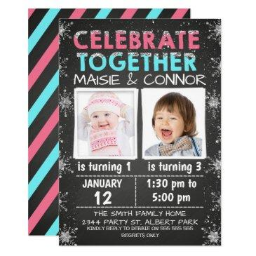 twins or joint winter birthday invitations