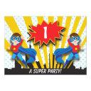 twins superhero birthday | boys brown hair invitation