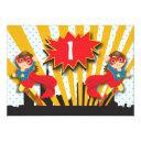 twins superhero birthday | brown hair girls invitations