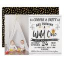 twins wild one photo 1st birthday invitation