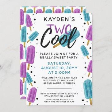 two cool kid's 2nd birthday summer ice pop party invitation
