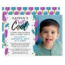 two cool kid's 2nd birthday summer ice pop photo invitations