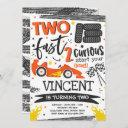 two fast 2nd birthday party orange race car party invitation