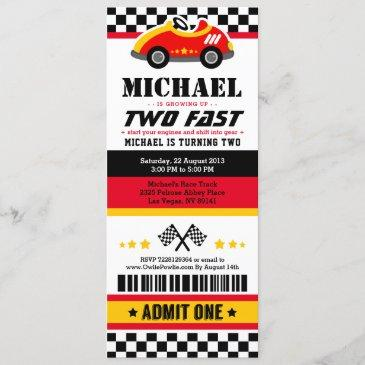 two fast race car ticket pass second birthday invitation