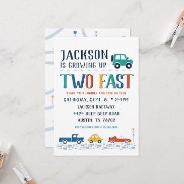 two fast second birthday invitation