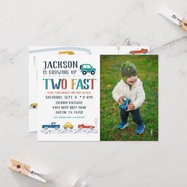 two fast second birthday photo invitation
