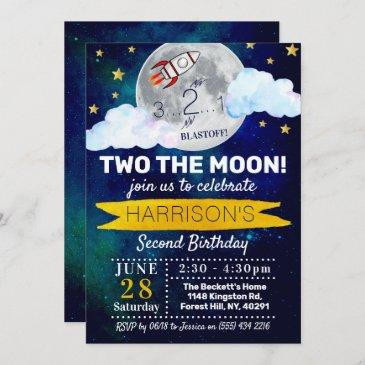 two the moon 2nd birthday invitation
