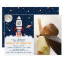 two the moon rocket ship 2nd birthday photo invitation