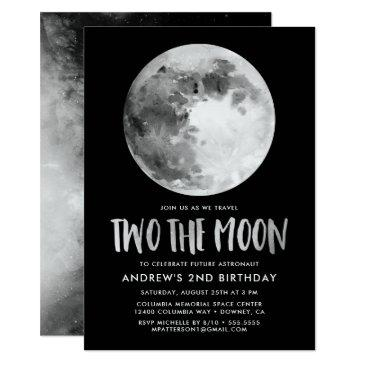 two the moon | second birthday party invitations