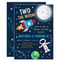 two the moon space birthday invitation