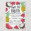 two-tti frutti cute fruit watercolor 2nd birthday invitation