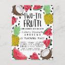 two-tti frutti cute fruit watercolor 2nd birthday invitation postinvitations