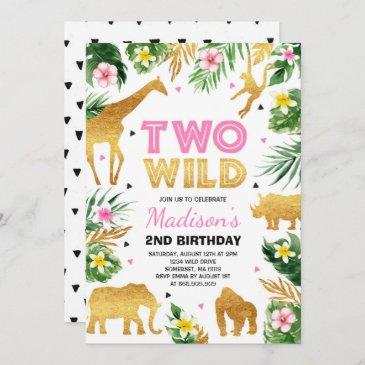 two wild 2nd birthday party safari animals party invitation