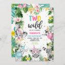 two wild birthday gold safari jungle animals party invitation