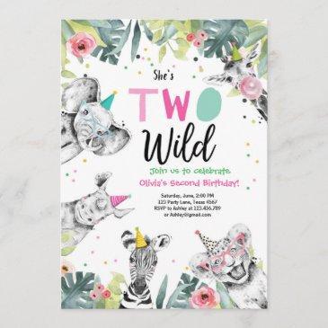 two wild birthday invitation safari girl animals