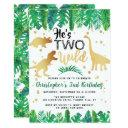 two wild dinosaur boys 2nd birthday invitation