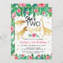 two wild dinosaur girls 2nd birthday invitation