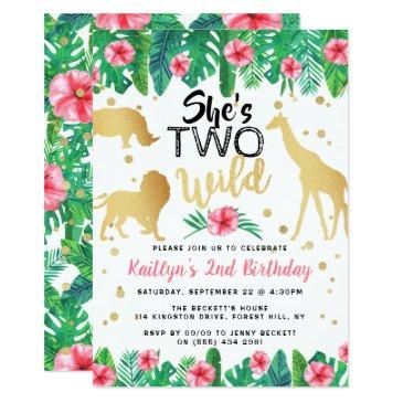 two wild girls second birthday party invitations