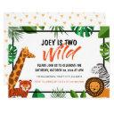 two wild jungle animal safari birthday invitation
