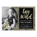 two wild leopard birthday invitation