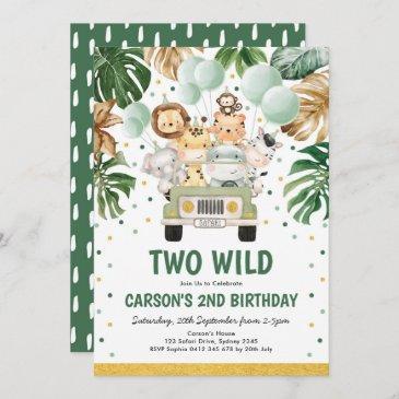 two wild safari jungle animals 2nd birthday invitation