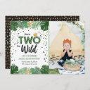 two wild tropical safari gold boy second birthday invitation