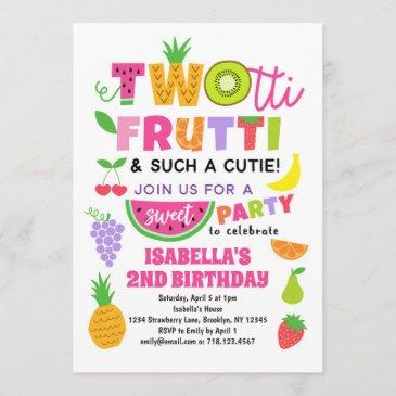 twotti frutti tropical fruit summer 2nd birthday invitation