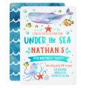 under the sea birthday party invitation whale