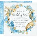 under the sea blue gold birthday party invitations