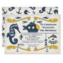 under the sea ticket nautical birthday party invitations