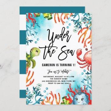 under the sea watercolor friends kids birthday invitation