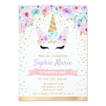 Small Unicorn 1st Birthday - Gold Teal Pink Purple Invitation Front View